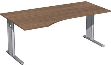 PC-Schreibtisch links höhenverstellbar, C Fuß Blende optional, 1800x1000x680-820, Nussbaum/Silber – Bild 1