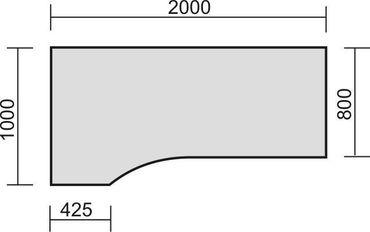 PC-Schreibtisch links höhenverstellbar, C Fuß Blende optional, 2000x1000x680-820, Nussbaum/Silber – Bild 2