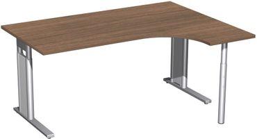 PC-Schreibtisch rechts höhenverstellbar, C Fuß Blende optional, 1600x1200x680-820, Nussbaum/Silber – Bild 1