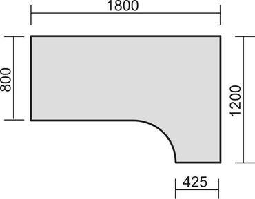 PC-Schreibtisch rechts höhenverstellbar, C Fuß Blende optional, 1800x1200x680-820, Weiß/Silber – Bild 2