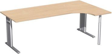 PC-Schreibtisch rechts höhenverstellbar, C Fuß Blende optional, 2000x1200x680-820, Buche/Silber – Bild 1