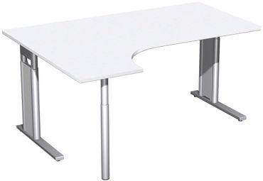 PC-Schreibtisch links höhenverstellbar, C Fuß Blende optional, 1600x1200x680-820, Weiß/Silber – Bild 1