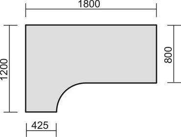 PC-Schreibtisch links höhenverstellbar, C Fuß Blende optional, 1800x1200x680-820, Buche/Silber – Bild 2