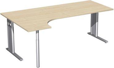 PC-Schreibtisch links höhenverstellbar, C Fuß Blende optional, 2000x1200x680-820, Ahorn/Silber – Bild 1