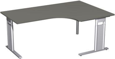 PC-Schreibtisch rechts höhenverstellbar, C Fuß Blende optional, 1800x1200x680-820, Graphit/Silber – Bild 1