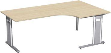 PC-Schreibtisch rechts höhenverstellbar, C Fuß Blende optional, 2000x1200x680-820, Ahorn/Silber – Bild 1