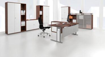 PC-Schreibtisch rechts höhenverstellbar, C Fuß Blende optional, 2000x1200x680-820, Nussbaum/Silber – Bild 3