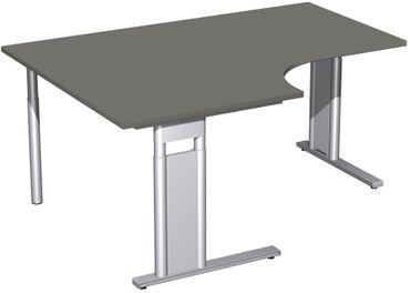 PC-Schreibtisch links höhenverstellbar, C Fuß Blende optional, 1600x1200x680-820, Graphit/Silber – Bild 1