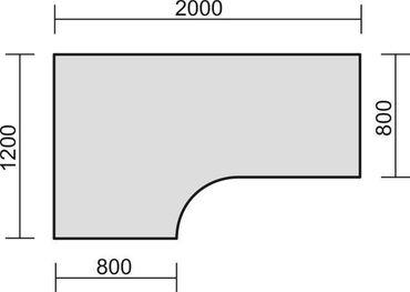 PC-Schreibtisch links höhenverstellbar, C Fuß Blende optional, 2000x1200x680-820, Ahorn/Silber – Bild 2