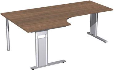 PC-Schreibtisch links höhenverstellbar, C Fuß Blende optional, 2000x1200x680-820, Nussbaum/Silber – Bild 1
