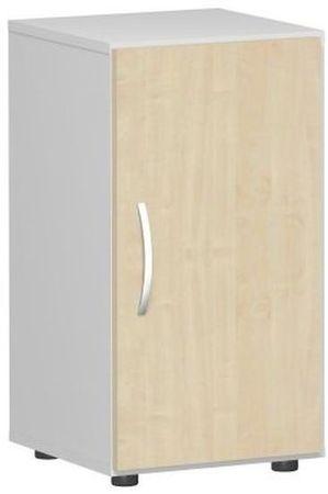 Flügeltürenschrank, Büroschrank aus Holz, mit Standfüßen, Griff links oder rechts, inkl. Türdämpfer, nicht abschließbar, 400x420x752, Ahorn/Lichtgrau – Bild 1