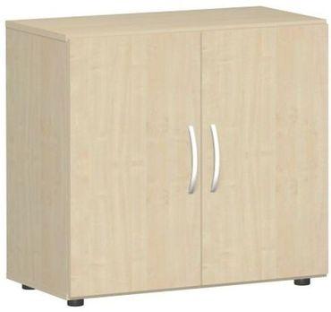 Flügeltürenschrank, Büroschrank aus Holz, mit Standfüßen, inkl. Türdämpfer, nicht abschließbar, 800x420x752, Ahorn/Ahorn – Bild 1