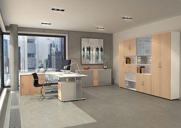 Flügeltürenschrank, Büroschrank aus Holz, mit Standfüßen, inkl. Türdämpfer, nicht abschließbar, 800x420x752, Buche/Weiß – Bild 4