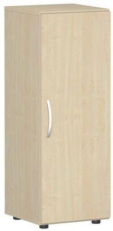 Flügeltürenschrank, Büroschrank aus Holz, mit Standfüßen, Griff links oder rechts, inkl. Türdämpfer, nicht abschließbar, 400x420x1104, Ahorn/Ahorn – Bild 1