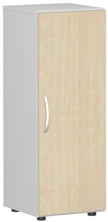 Flügeltürenschrank, Büroschrank aus Holz, mit Standfüßen, Griff links oder rechts, inkl. Türdämpfer, nicht abschließbar, 400x420x1104, Ahorn/Lichtgrau – Bild 1
