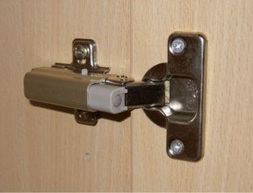 Flügeltürenschrank, Büroschrank aus Holz, mit Standfüßen, Griff links oder rechts, inkl. Türdämpfer, nicht abschließbar, 400x420x1104, Ahorn/Weiß – Bild 6
