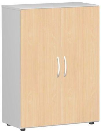 Flügeltürenschrank, Büroschrank aus Holz, mit Standfüßen, inkl. Türdämpfer, nicht abschließbar, 800x420x1104, Buche/Lichtgrau – Bild 1