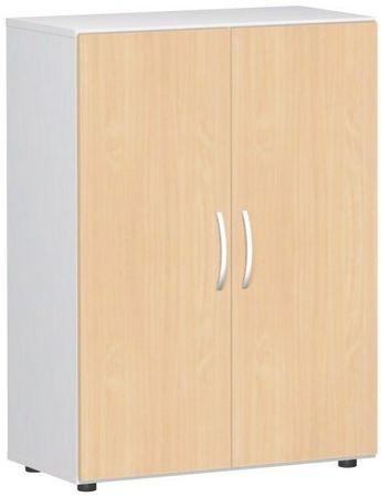 Flügeltürenschrank, Büroschrank aus Holz, mit Standfüßen, inkl. Türdämpfer, nicht abschließbar, 800x420x1104, Buche/Weiß – Bild 1