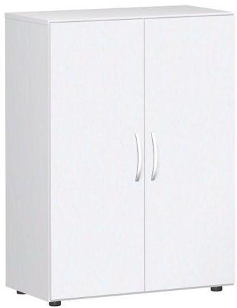 Flügeltürenschrank, Büroschrank aus Holz, mit Standfüßen, inkl. Türdämpfer, nicht abschließbar, 800x420x1104, Weiß/Weiß – Bild 1