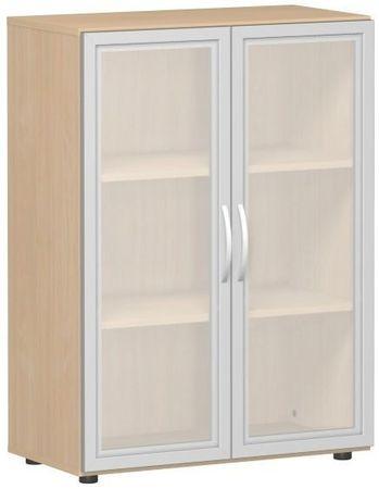 Flügeltürenschrank, Büroschrank aus Holz, mit satinierten Glastüren im Holzrahmen, mit Standfüßen, inkl. Türdämpfer, nicht abschließbar, 800x400x1104, Buche – Bild 1