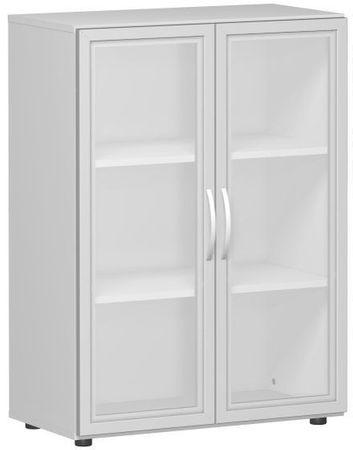 Flügeltürenschrank, Büroschrank aus Holz, mit satinierten Glastüren im Holzrahmen, mit Standfüßen, inkl. Türdämpfer, nicht abschließbar, 800x400x1104, Lichtgrau – Bild 1