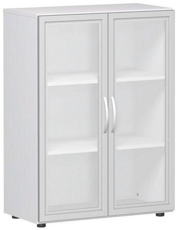 Flügeltürenschrank, Büroschrank aus Holz, mit satinierten Glastüren im Holzrahmen, mit Standfüßen, inkl. Türdämpfer, nicht abschließbar, 800x400x1104, Weiß – Bild 1