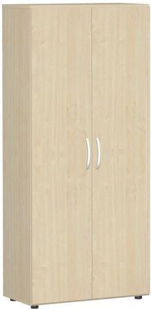 Flügeltürenschrank, Büroschrank aus Holz, mit Standfüßen, inkl. Türdämpfer, abschließbar, 800x420x1808, Ahorn/Ahorn – Bild 1