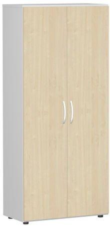 Flügeltürenschrank, Büroschrank aus Holz, mit Standfüßen, inkl. Türdämpfer, abschließbar, 800x420x1808, Ahorn/Lichtgrau – Bild 1