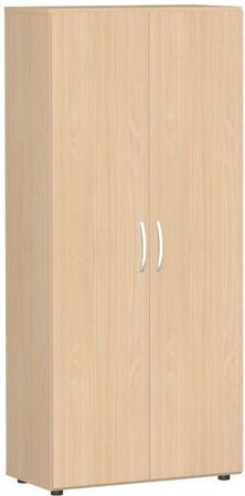Flügeltürenschrank, Büroschrank aus Holz, mit Standfüßen, inkl. Türdämpfer, abschließbar, 800x420x1808, Buche/Buche – Bild 1