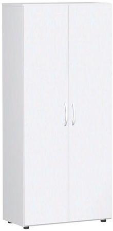 Flügeltürenschrank, Büroschrank aus Holz, mit Standfüßen, inkl. Türdämpfer, abschließbar, 800x420x1808, Weiß/Weiß – Bild 1