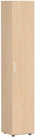 Flügeltürenschrank, Büroschrank aus Holz, mit Standfüßen, Griff links oder rechts, inkl. Türdämpfer, nicht abschließbar, 400x420x2160, Buche/Buche – Bild 1