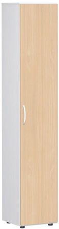 Flügeltürenschrank, Büroschrank aus Holz, mit Standfüßen, Griff links oder rechts, inkl. Türdämpfer, nicht abschließbar, 400x420x2160, Buche/Weiß – Bild 1
