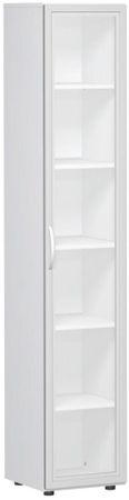 Flügeltürenschrank, Büroschrank aus Holz, mit satinierter Glastür im Holzrahmen, mit Standfüßen, Griff links oder rechts, inkl. Türdämpfer, nicht abschließbar, 6 Ordnerhöhen, Weiß – Bild 1