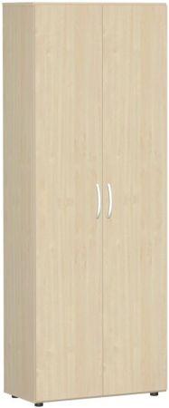 Flügeltürenschrank, Büroschrank aus Holz, mit Standfüßen, inkl. Türdämpfer, nicht abschließbar, 800x420x2160, Ahorn/Ahorn – Bild 1