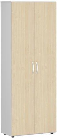 Flügeltürenschrank, Büroschrank aus Holz, mit Standfüßen, inkl. Türdämpfer, nicht abschließbar, 800x420x2160, Ahorn/Lichtgrau – Bild 1