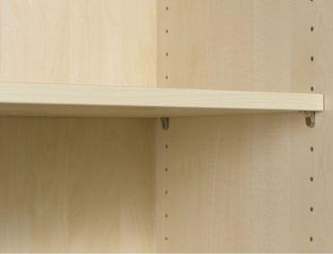 Flügeltürenschrank, Büroschrank aus Holz, mit Standfüßen, inkl. Türdämpfer, nicht abschließbar, 800x420x2160, Buche/Buche – Bild 5