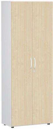 Flügeltürenschrank, Büroschrank aus Holz, mit Standfüßen, inkl. Türdämpfer, abschließbar, 800x420x2160, Ahorn/Weiß – Bild 1