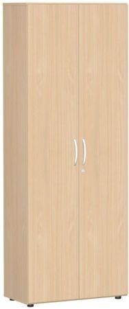 Flügeltürenschrank, Büroschrank aus Holz, mit Standfüßen, inkl. Türdämpfer, abschließbar, 800x420x2160, Buche/Buche – Bild 1