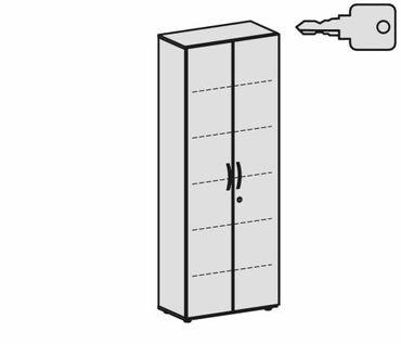 Flügeltürenschrank, Büroschrank aus Holz, mit Standfüßen, inkl. Türdämpfer, abschließbar, 800x420x2160, Weiß/Weiß – Bild 2
