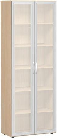 Flügeltürenschrank, Büroschrank aus Holz, mit satinierten Glastüren im Holzrahmen, mit Standfüßen, inkl. Türdämpfer, nicht abschließbar, 800x420x2160, Buche – Bild 1