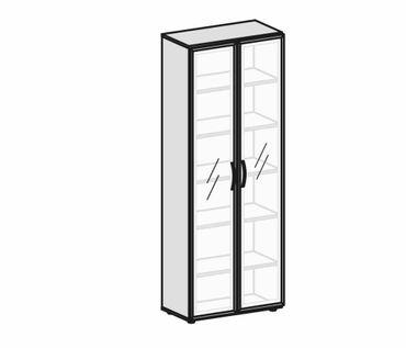 Flügeltürenschrank, Büroschrank aus Holz, mit satinierten Glastüren im Holzrahmen, mit Standfüßen, inkl. Türdämpfer, nicht abschließbar, 800x420x2160, Buche – Bild 2