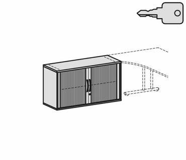 Anstell-Querrollladenschrank, Rolladenschrank Aktenschrank, Büroschrank aus Holz, Oberboden 25 mm, mit Stellfüßen, abschließbar, 1200x425x720, Silber/Ahorn – Bild 2
