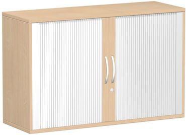 Anstell-Querrollladenschrank, Rolladenschrank Aktenschrank, Büroschrank aus Holz, Oberboden 25 mm, mit Stellfüßen, abschließbar, 1200x425x720, Silber/Buche – Bild 1