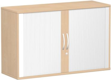 Querrollladenschrank, Rolladenschrank Aktenschrank, Büroschrank aus Holz, Oberboden 25 mm, mit Standfüßen, abschließbar, 1200x425x798, Silber/Buche