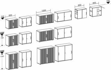 Querrollladenschrank, Rolladenschrank Aktenschrank, Büroschrank aus Holz, Oberboden 25 mm, mit Standfüßen, abschließbar, 1200x425x798, Silber/Buche – Bild 6