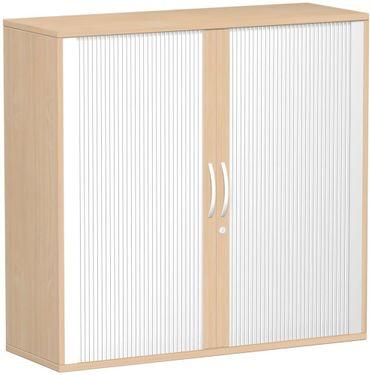 Querrollladenschrank, Rolladenschrank Aktenschrank, Büroschrank aus Holz, Oberboden 25 mm, mit Standfüßen, abschließbar, 1200x425x1182, Silber/Buche – Bild 1