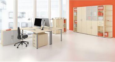 Schiebetürenschrank Büro, Büroschrank aus Holz,Oberboden 25 mm, mit Standfüßen, abschließbar, 800x425x798, Ahorn/Ahorn – Bild 3