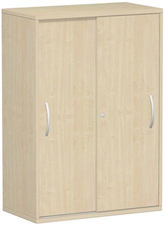 Schiebetürenschrank Büro, Büroschrank aus Holz,Oberboden 25 mm, mit Standfüßen, abschließbar, 800x425x1182, Ahorn/Ahorn – Bild 1
