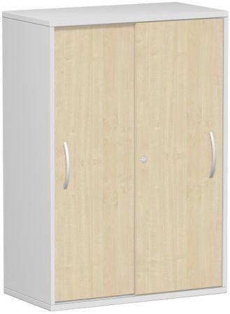 Schiebetürenschrank Büro, Büroschrank aus Holz,Oberboden 25 mm, mit Standfüßen, abschließbar, 800x425x1182, Ahorn/Lichtgrau – Bild 1