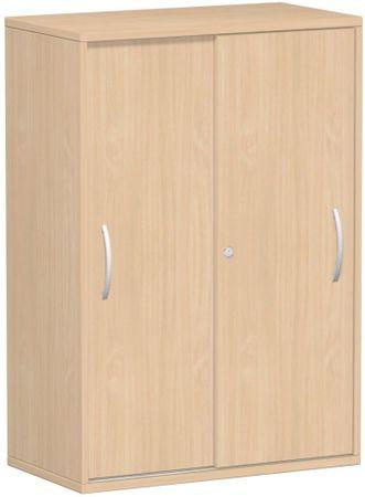 Schiebetürenschrank Büro, Büroschrank aus Holz,Oberboden 25 mm, mit Standfüßen, abschließbar, 800x425x1182, Buche/Buche – Bild 1
